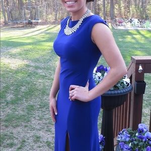 Royal blue prom dress with bow on back